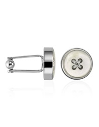 Forzieri Mother Of Pearl Button Silver Plated Cuff Links Ivory
