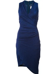 Nicole Miller Shimmer Effect Wrap Dress Blue