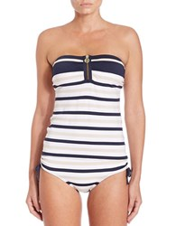 Michael Kors Striped Bandeau Tankini Top New Navy Blue