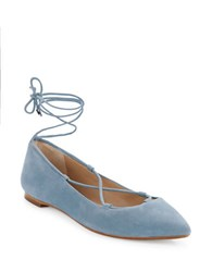 424 Fifth Charisma Suede Flats Blue