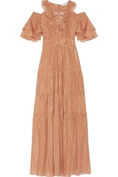 Rachel Zoe Cecily Tiered Metallic Cotton And Silk Blend Maxi Dress Tan