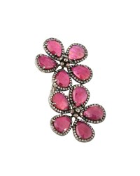 Bavna Composite Ruby And Mixed Diamond Floral Bypass Ring Women's