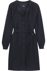 Rosy Belted Broderie Anglaise Cotton Dress Navy