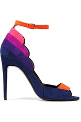 Pierre Hardy Roxy Color Block Suede Sandals Indigo