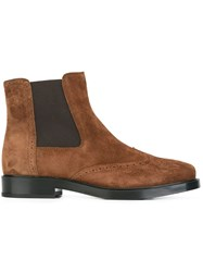 Tod's Brogue Detailing Ankle Boots Brown