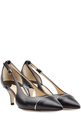 Paul Andrew Leather Low Heel Pumps With Metallic Detail