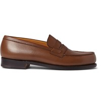 J.M. Weston 180 The Moccasin Grained Leather Loafers Brown