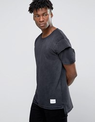 Criminal Damage T Shirt With Layered Sleeves Black