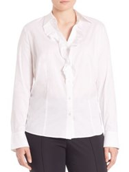 Basler Plus Size Ruffle Button Front Blouse White