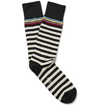 Paul Smith Striped Stretch Cotton Blend Socks Black
