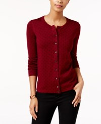 Charter Club Dot Print Cardigan Only At Macy's Cranberry Red
