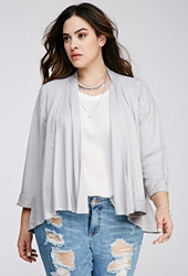 Forever 21 Floral Lace Paneled Cardigan Light Grey