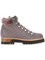 Le Silla Embellished Hiking Boots Pink Purple