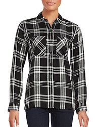 Saks Fifth Avenue Long Sleeve Plaid Button Down Shirt Black