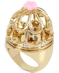 Betsey Johnson Gold Tone Birdcage Statement Ring Multi
