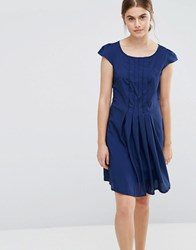 Jasmine Pleated Front Dress Navy
