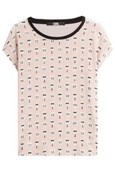 Karl Lagerfeld Painted Print Silk T Shirt Rose