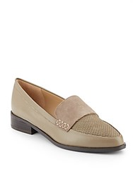 Saks Fifth Avenue Lorenna Mixed Media Point Toe Loafers Olive Branch