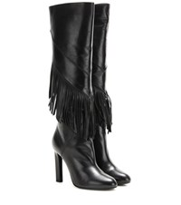 Saint Laurent Fringed Leather Knee High Boots Black