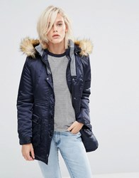 Girls On Film Parka With Faux Fur Hood Navy