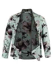 Chesca Poppy Print Shrug With Spot Mesh Lining Green