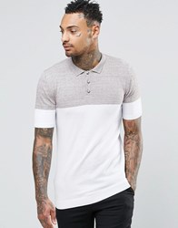 Asos Muscle Fit Knitted Polo In Colour Block Brown Twist And White