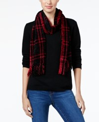 Charter Club Windpine Woven Chenille Scarf Only At Macy's Black Red