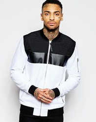 Asos Jersey Bomber Jacket With Quilted Panels White