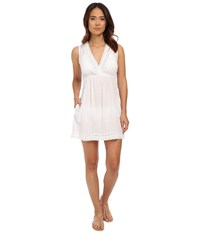 Lauren Ralph Lauren Lace Trim Crushed Cotton Kayla Dress Cover Up White Women's Swimwear