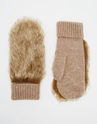 Jack Wills Monkgate Faux Fur Backed Mittens Brown