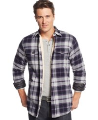Tricots St Raphael Tricots St. Raphael Plaid Sherpa Lined Shirt Jacket Heather Grey Navy