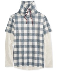 American Rag Men's Check Print Funnel Neck Shirt Only At Macy's Basic Navy