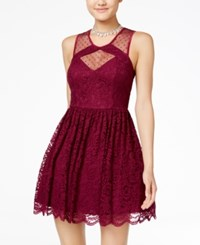 City Triangles Studio Juniors' Cutout Lace Fit And Flare Dress Wine