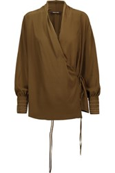 Roberto Cavalli Embellished Washed Silk Wrap Blouse Army Green