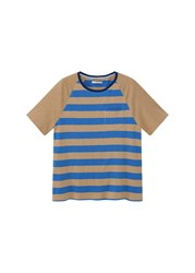 Mango Striped Cotton T Shirt Blue
