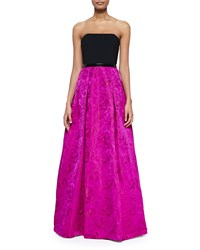 Theia Strapless Colorblock Floral Skirt Gown Pink