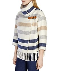 Karen Millen Striped Fringe Jacket Multicolour