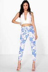 Boohoo Soft Floral Skinny Trousers Lilac
