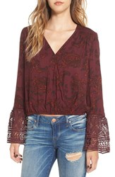 Sun And Shadow Women's Print Bell Sleeve Surplice Top
