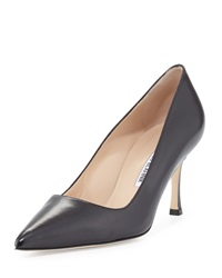 Manolo Blahnik Bb Leather Mid Heel Pump Black