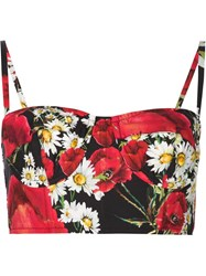 Dolce And Gabbana Daisy And Poppy Print Bustier Top Black