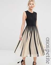 Asos Petite Mesh Fit And Flare Midi Dress Mono Multi