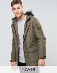 Asos Parka Jacket In Khaki With Faux Fur Trim Khaki Green