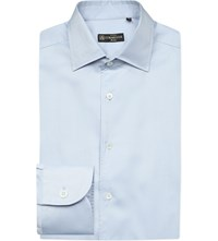 Corneliani Herringbone Regular Fit Cotton Shirt Lt Blue