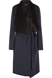 Joseph Live Long Two Tone Wool And Cashmere Blend Coat Navy
