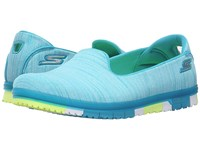 Skechers Go Mini Flex Turquoise Lime Women's Slip On Shoes Blue
