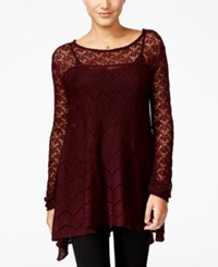 Jessica Simpson Darlanne Mixed Knit Illusion Sweater Wine