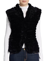 Saks Fifth Avenue Shawl Collar Rabbit Fur Vest Black