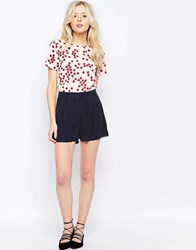 Sugarhill Boutique Polka Dot Shorts With Bow Deatil Navywhite