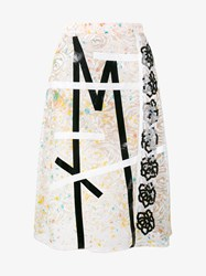 Christopher Kane Embroidered Lace Skirt Beige White Black Multi Coloured
